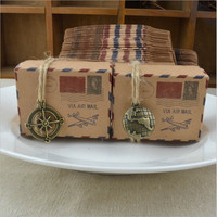 50pcs Retro Kraft Airplane Post Pendant Candy Box Gift Box With Burlap Twine Chic Wedding Decoration