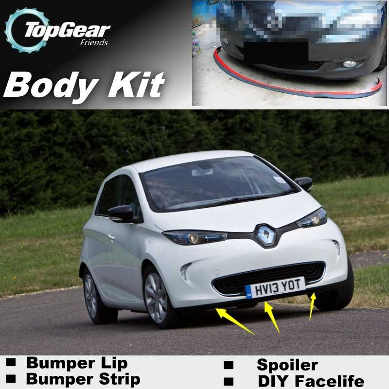 Bumper Lip Deflector Lips For Renault Zoe Front Spoiler Skirt For TopGear to Car Tuning View / Body Kit / Strip