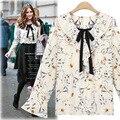 2017 mulheres do vintage camisas de algodão longo flare manga da camisa estampa floral feminino causal elegante bowed feminino blusa tops wr202