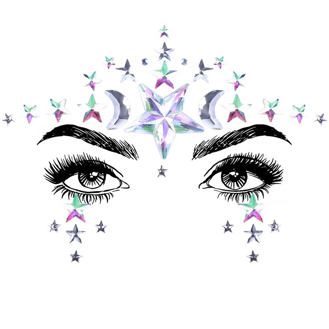 1Sheet Face Jewels Rhinestones Adhesive Crystal Face Gems Beauty Body Glitter Tattoo Art Eyebrow Face Body Jewelry 4