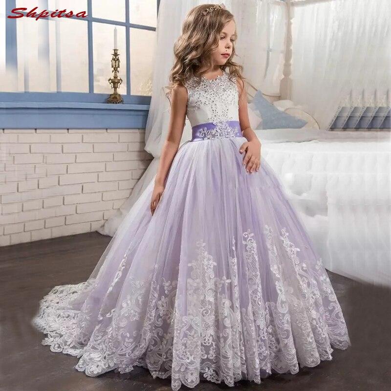 Lace Flower Girl Dresses for Weddings Party Wedding 2018 First Communion Dresses Flowergirl Girls Pageant Dress for Little Girls