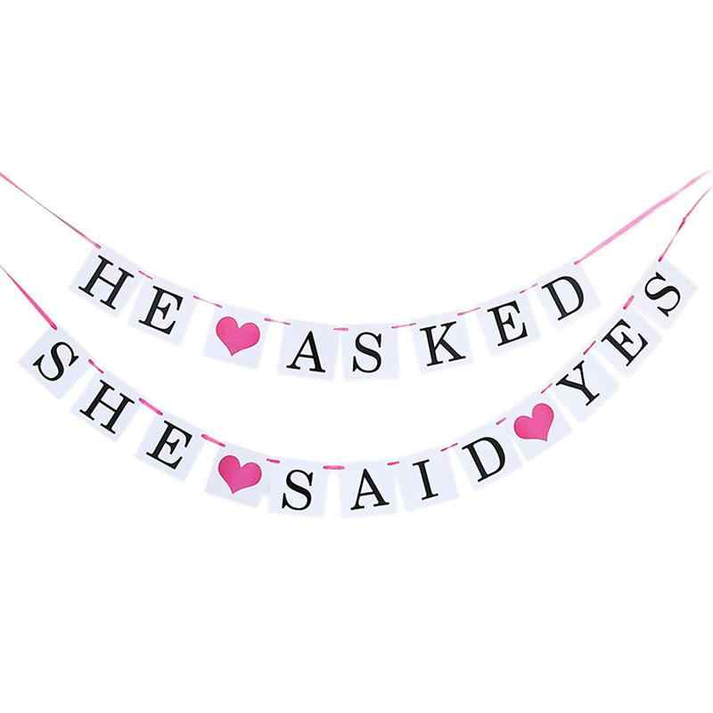 BESTOYARD HE ASKED SHE SAID YES Sign Wedding Party Banner Garland Reception Buffet Hanging Banner Decor (Rose Red Rope) D30