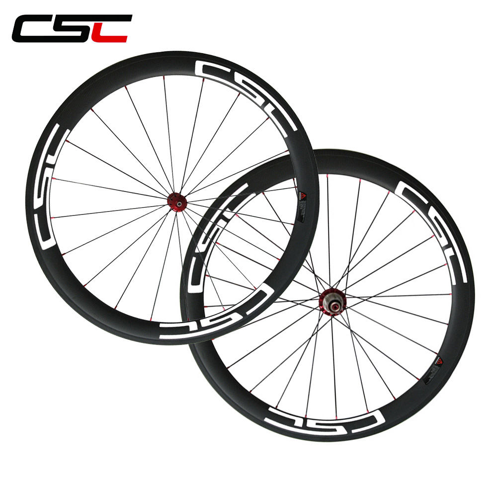 CSC U Shape Straight Pull 700C Clincher Carbon 50mm Wheels 25mm Width with Powerway R36 Carbon