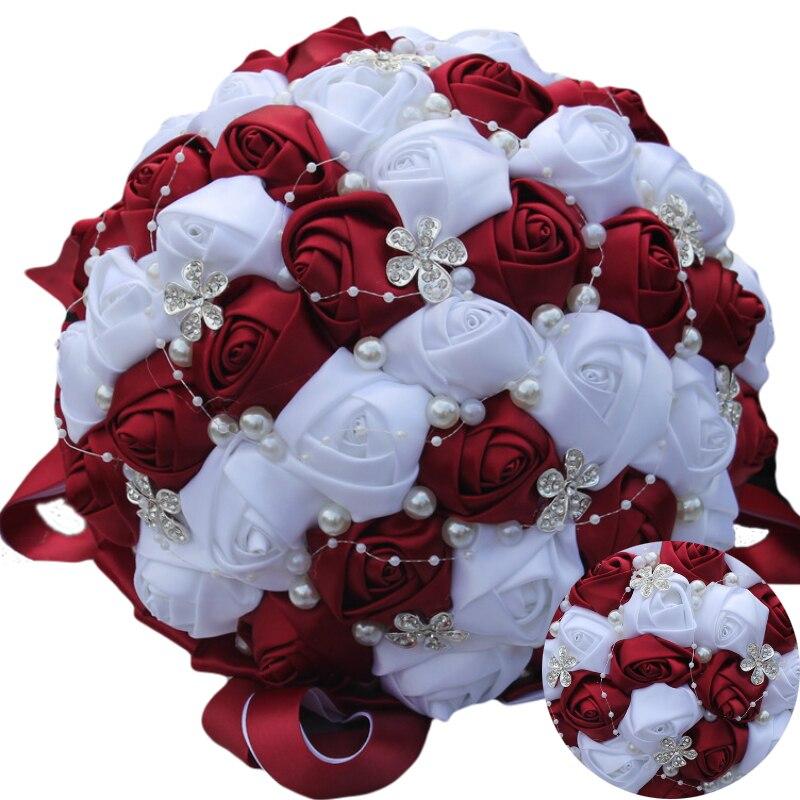 WifeLai A Ramos De Novia Burgundy Red White Crystal Bridal Bouquet ...
