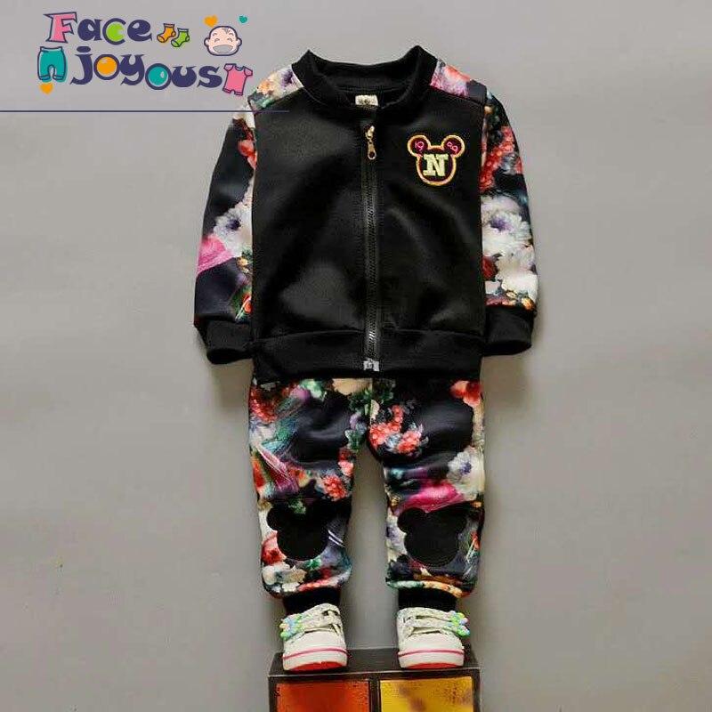 Children's Clothing Sets Girls 2 Pieces Zipper Jacket + Flower Pants Tracksuit Kids Boys Sports Suit Spring/Autumn Baby Clothes