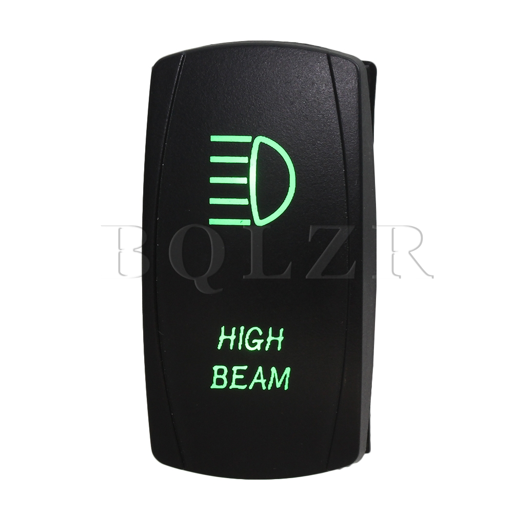BQLZR Dual Green Pattern High Beam Double ON-OFF-ON Momentary Rocker Switch for Car g126y 2pcs red led light 25 31mm spst 4pin on off boat rocker switch 16a 250v 20a 125v car dashboard home high quality cheaper