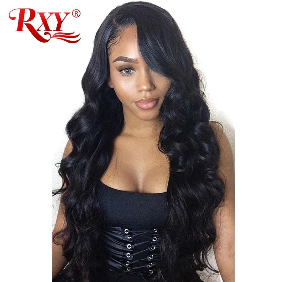 RXY 13x6 перуанский объемная волна парик Guleless Синтетические волосы на кружеве натуральные волосы парики для черный Для женщин бесплатная част...