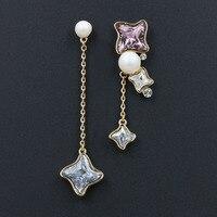 Розовое золото родием асимметрия Перл Длинные висячие серьги Подлинная звезда австрийского хрусталя Для женщин ювелирные изделия