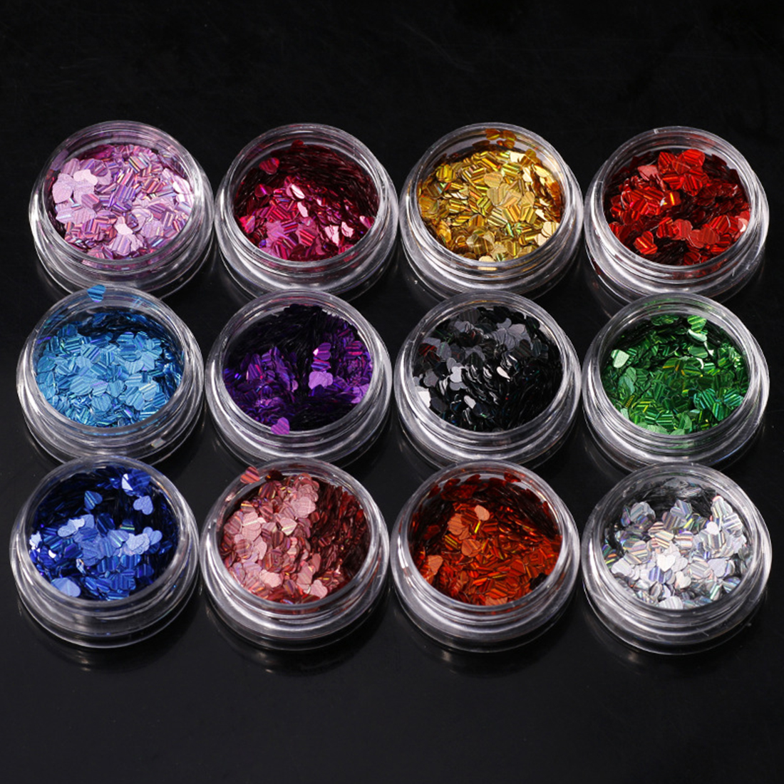 12 Colors Laser Sweet Love Heart Nail Sequins Shinning Paillettes Whinte Black Nail Art  ...