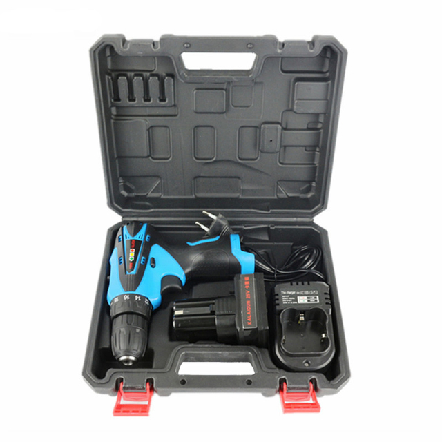 KALAIDUN 25V Electric Drill Mobile Power Tools Electric Screwdriver Lithium Battery Cordless Impact Drill With Extra Toolbox