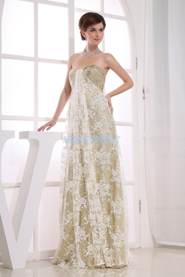 free shipping gown vestidos formale 2018 new lace vestido madrinha paillette gold brides maid maxi long party   bridesmaid     Dresses