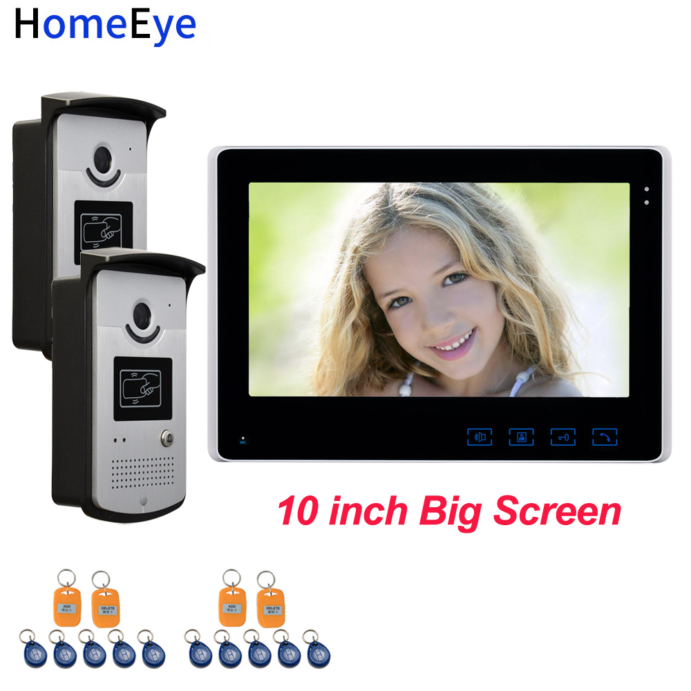 10'' Screen Video Door Phone Video Intercom 2V1 Home Access Control System+RFID Card Reader 1200TVL Waterproof Touch Button OSD