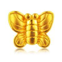 Pure 24k Yellow Gold 3D Women Lucky Bless Butterfly Ring