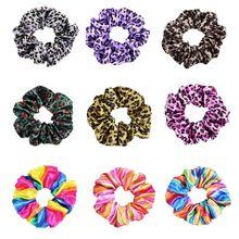 Colorful Hair Rope Tie Loop Scrunchies Ponytail Holder Satin Rainbow Leopard Elastic Women Girls