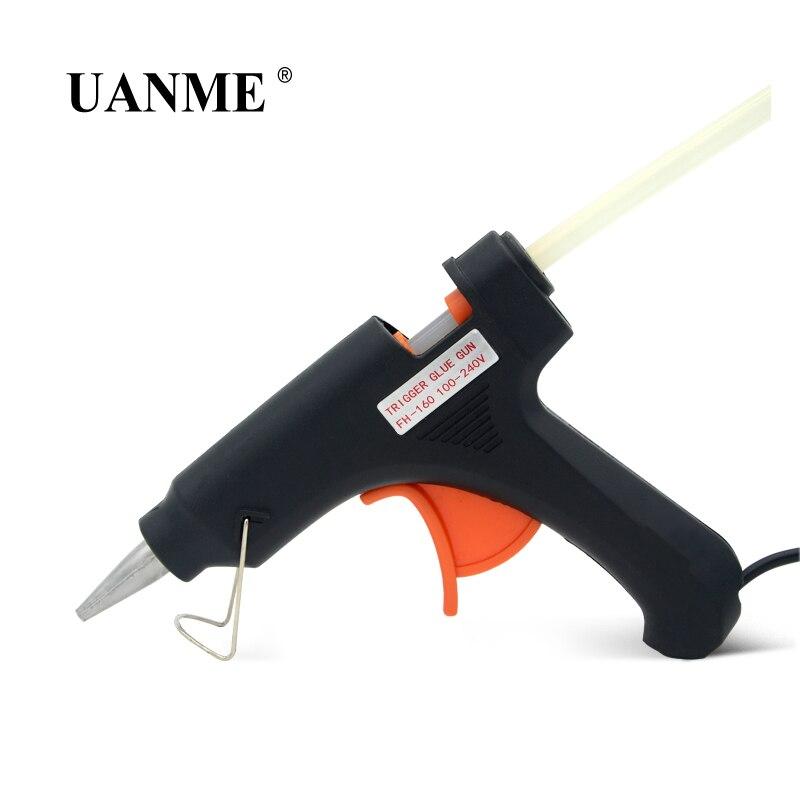 Купить с кэшбэком UANME 20W 100-240V High Temp Hot Melt Glue Gun Professional Repair Heat Tool Spray Gun USA Plug / 7mm*200mm Glue Stick