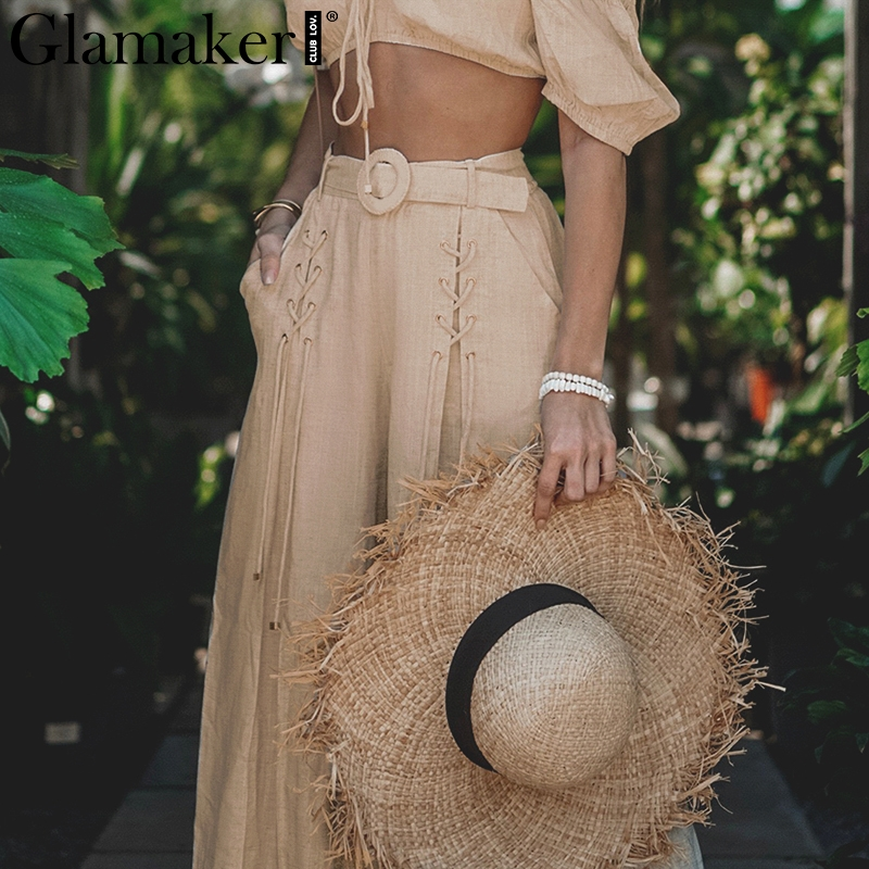 Glamaker Apricot buckle belt trousers women   pants   Fashion lace-up high waist   wide     leg     pant   Sexy summer casual loose   pant   bottoms