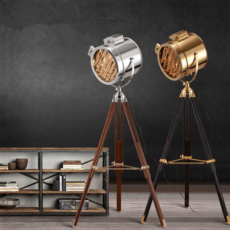 Europeu do vintage macio industrial vento estúdio searchlight criativo estágio de aço inoxidável antigo ajustável altura tripé lâmpada