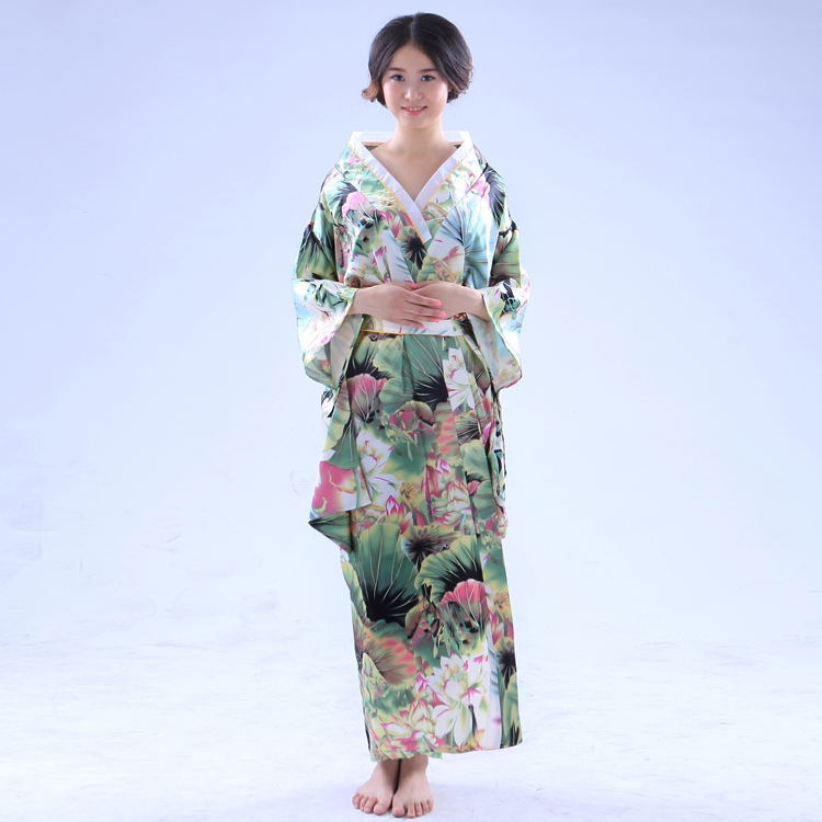 Flower Kimono Uniform Meidofuku Maid Dress Outfit Cosplay Costumes Set for Women and Girls