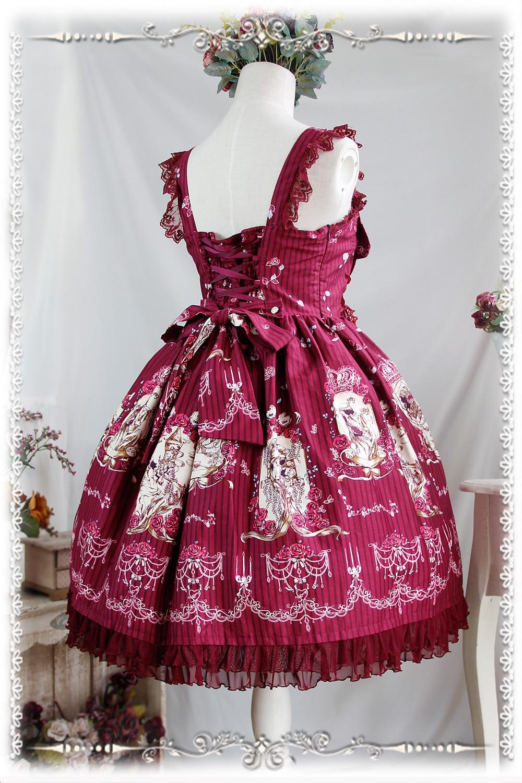 2016 Lolita Original imprimé Floral coton doux Lolita robe victorienne Tangeld JSK robe de soirée bleu/rouge/Beige - 6
