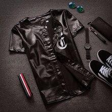 Sondirane Neueste Herren Leder T-shirt Kurzarm Kühlen Schwarz Baseball Jersey 99 Bomber Jacke Lässige Hip Hop Streetwear Tops