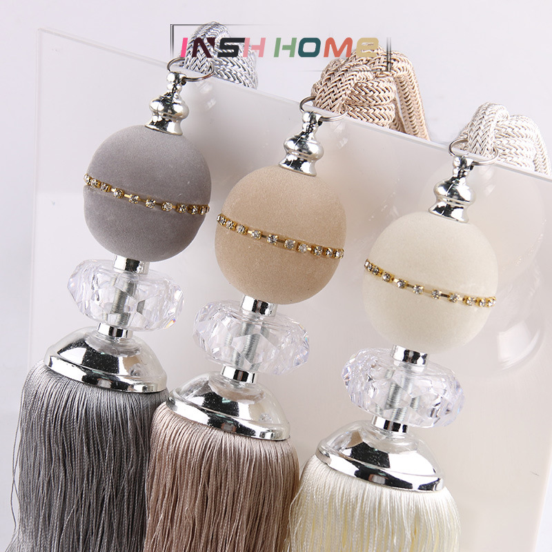 One Pair Multiple Colour Flocked Crystal Ball Curtain Tassels Fringe Luxury Curtain Accessories Home Decoration Hanging Balls