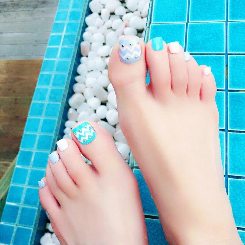 24pcs/Set Summer Toes False Nails Blue Full Nail Tips Wave Design ...