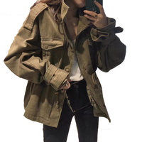 Women bat Sleeve Windbreaker Coat Oversize Streetwear Jacket Casual Outerwear Spring Loose Drawstring Army Green Jacket