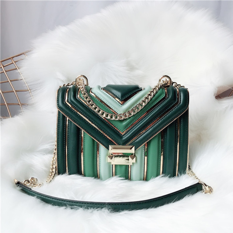 BXX Sac / 2019 Fashion Luxury Handbags Women Designer Leather Chain Lingge One shoulder Slung Hit Color Small Square Bag ZC740-in Shoulder Bags from Luggage & Bags    2