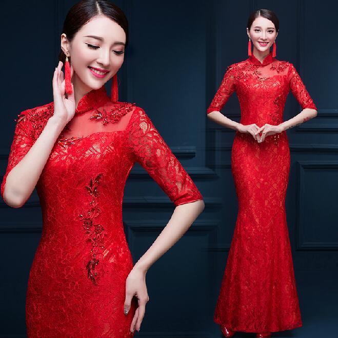 Dentelle rouge robe de mariée chinoise dame Slim Vintage demoiselle d'honneur Cheongsam robes traditionnelles pour les femmes soirée Qipao 90