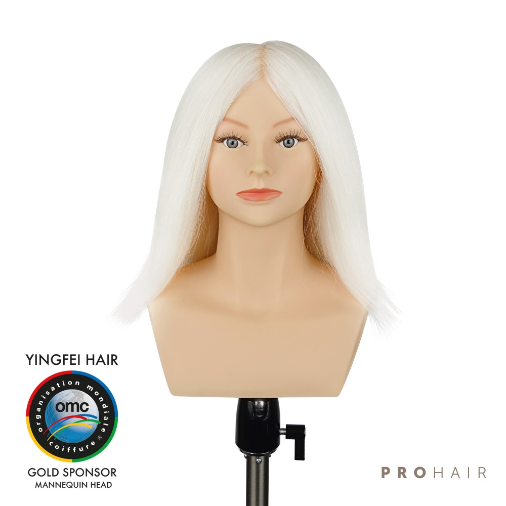 PROHAIR OMC Approved 30CM 12 100 White Goat Hair Competition Head Hairdressing Mannequin Doll Head for