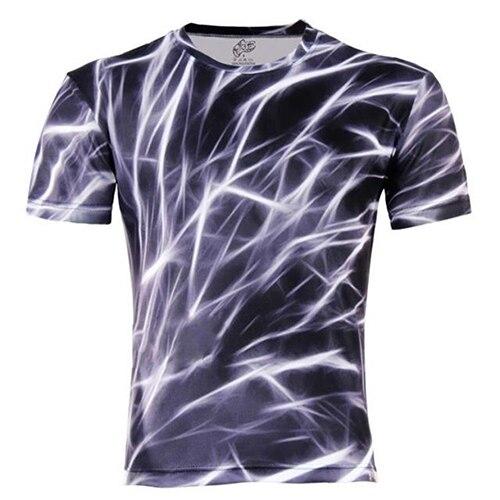Nouvelle Arrivée Hommes de Mode D'été Occasionnels Rock Style 3D Impression de Foudre À Manches Courtes T-shirt