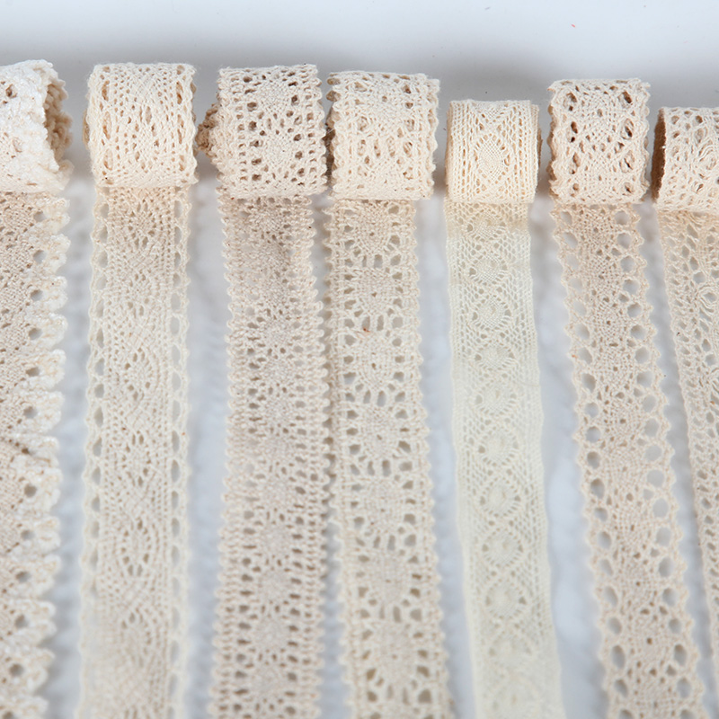 5Yards Cotton Lace Ribbon Beige White Black 32kinds Handmade Wedding Party Gift Packing Patchwork Cotton Crocheted Lace Trims