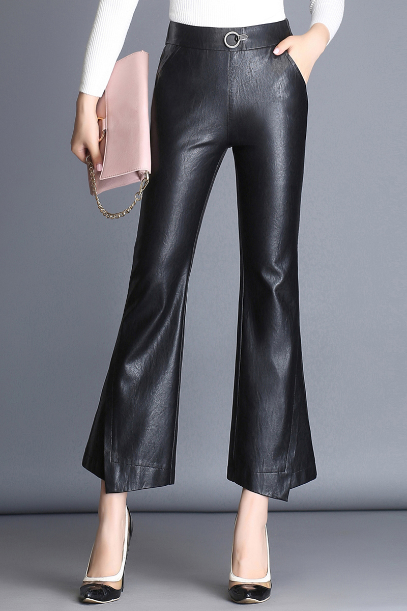 Fashion Brand Ankle-Length sheep leather pants Women Women's Clothings Women's Pants/Trousers