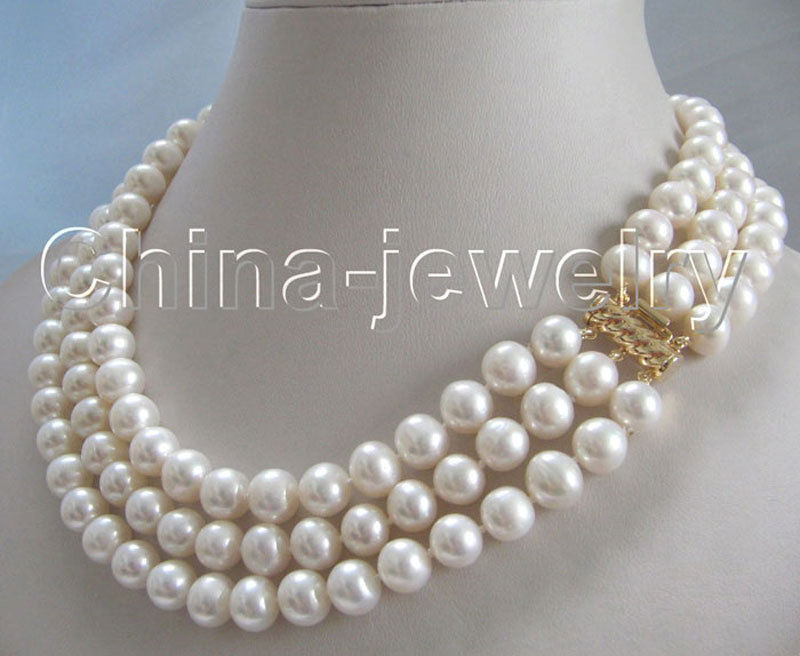 P1951 AAA 17 19 3row 8 9mm natural white round freshwater pearl necklace