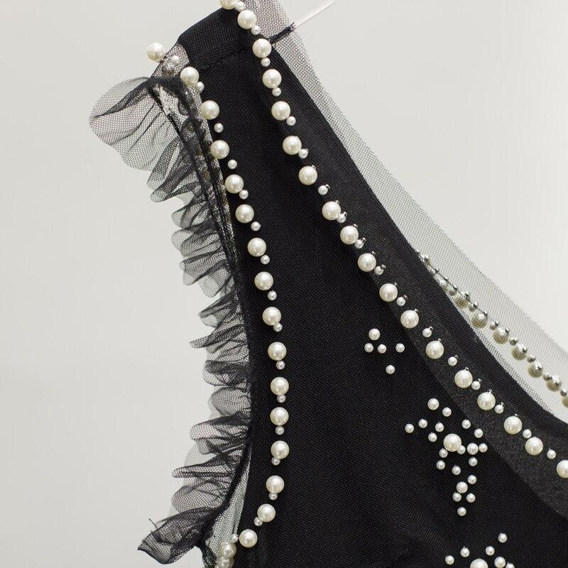 Nouvelles Robes Vestdios Robe D'été Perles Manches Culb 2018 Vinatge Sans V Parti Col Noir Maille Femmes Femelle Sexy AqZRgw
