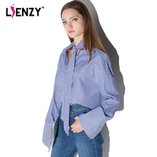 LIENZY 2016 Spring Elegant Women Shirt Long Batwing Sleeve Polo Neck Blue Striped Office Za Bow Shirt For Summer