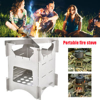 AT6307 Stove Pot BBQ Outdoor Compact Camping Stove Hiking Wood Burning Traveling Silver Portable Portable Stove Cooker Camping