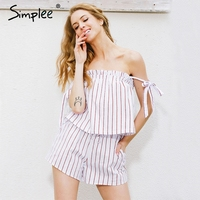 Simplee White Stripe Bow Elegant Jumpsuit Romper Off Shoulder Top Shorts Two Piece Suit Sexy Summer
