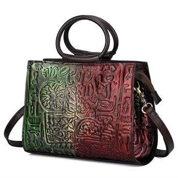 Women Genuine Leather Top Handle Messenger Bags Cross Body Handbag High Quality Retro Cowhide Embossed Luxury Tote Shoulder Bags