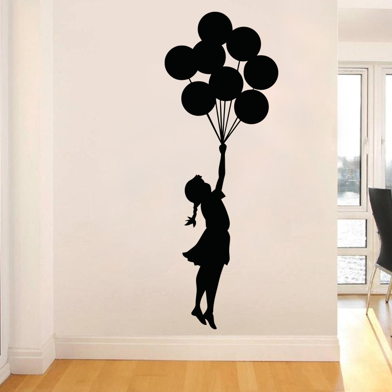 Art Design Banksy Wall Sticker Flying Balloon Girl home decor Vinil wall decal Self Adhesive Graffiti DIY home decoration