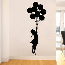 Art Design Banksy Wall Sticker Flying Balloon Girl home decor Vinyl wall decal Self Adhesive Graffiti DIY decoration