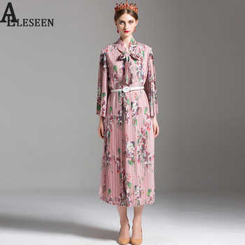 Bohemian Dresses 2018 Summer New Women Fashion Elegant Full Sleeve Elegant Bow Pleated Floral Print Pink Mid-Calf Loose Dress - DISCOUNT ITEM  50% OFF All Category
