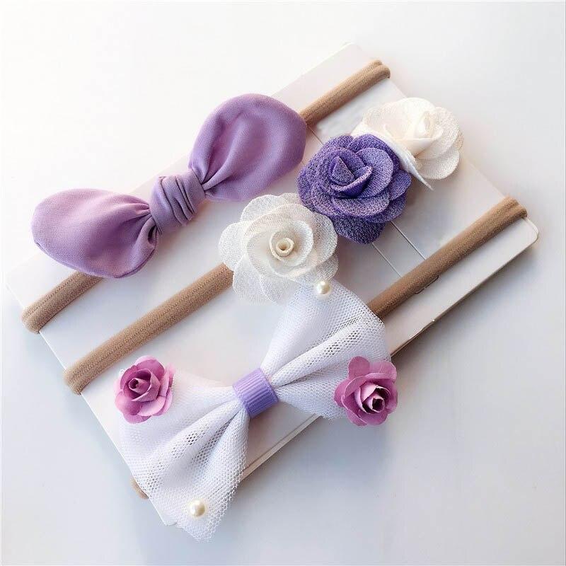 3Pcs/Set Elegant Baby Girls Headband Flower Bowknot Hair Band Elastic Nylon Hairbands Kids Girls Hair Turban Baby   Headwear