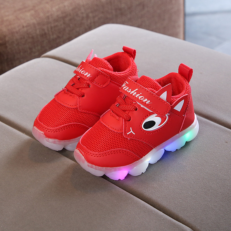 2018 cartoon big eyes LED shoes kids Lovely colorful glowing breathable boys  girls shoes running sports light children sneakers-in Sneakers from Mother  ... 8fdb6c390e71