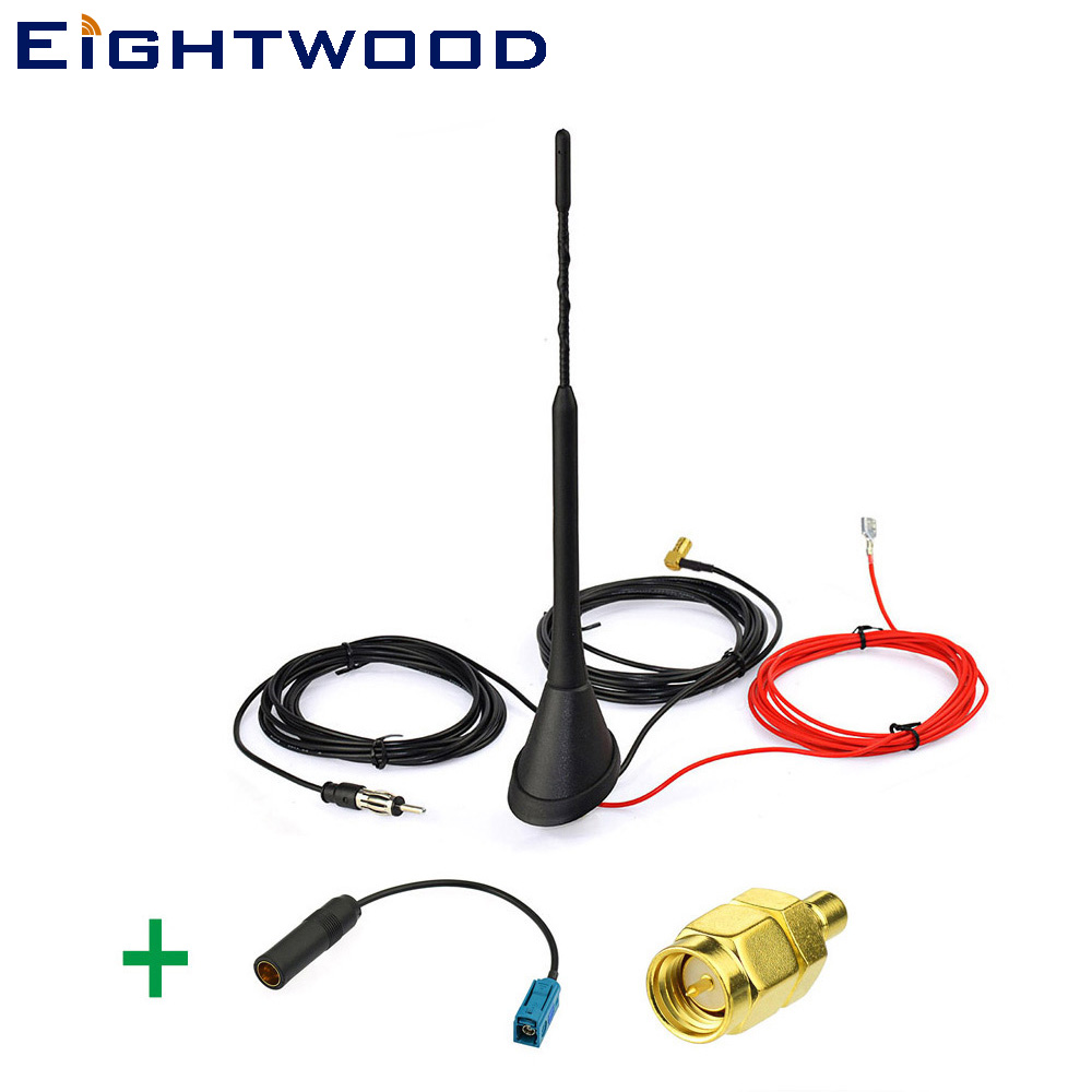 Eightwood AM//FM DAB Aerial Splitter Fakra Adapter Fakra to DIN Male to Dual FakraZ Male DAB Splitter with Amplifier Power Cable 30cm for Ham Radio Blaupunkt Pioneer Clarion Kenwood Alpine JVC