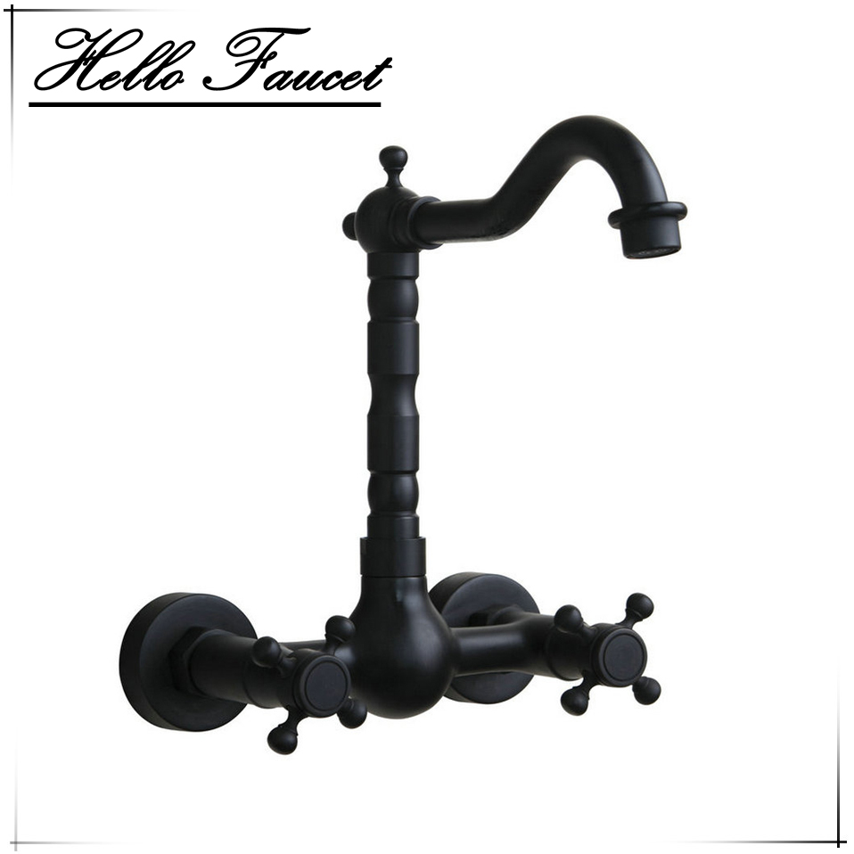 Wall Mounted Oil Rubbed Black Bronze Bathroom Faucet Bathtub Torneira Basin Sink Faucet Hot And Cold Mixers &Taps Doubel Handles wall mounted single handle waterfall basin sink faucet oil rubbed bronze hot and cold bathroom mixer taps