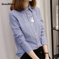 Free Shipping Lovely New Arrival Rabbit Embroidery Peter Pan Collar Stripe Long Sleeve Woman Cotton Blouse Blue