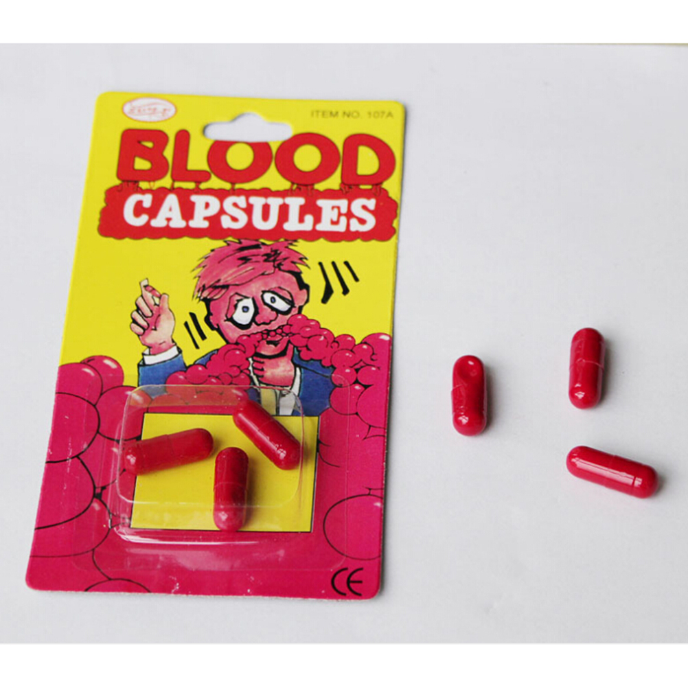 Funny Blood Pill Trick Toys Whimsy Prop Vomiting Blood Capsule April Fool's Day Gag Joke Toys