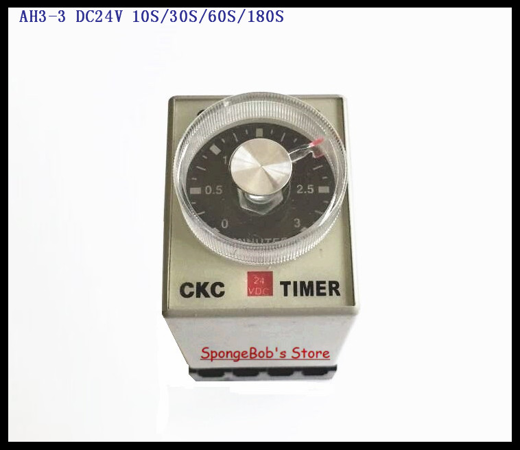 цена на 2 Sets/Lot AH3-3 DC24V 10S/30S/60S/180S Power On Delay Timer Time Relay 24VDC 8 Pins With PF083A Socket Base