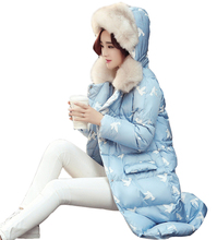 2017 autumn winter Korean women in the long section of cotton down jacket hooded cotton jacket